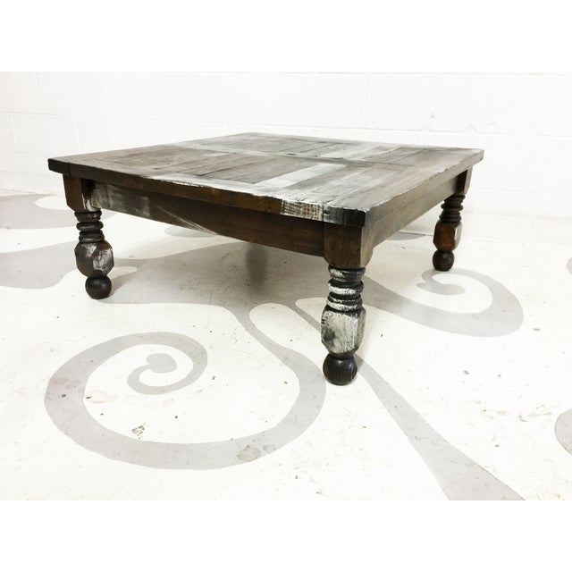 Vintage Mexican Hand Painted Pine Coffee Table - Image 4 of 7