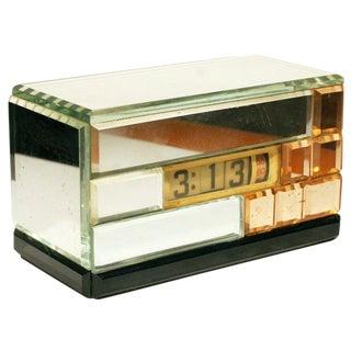 Mirrored Art Deco Electric Digital Clock by Lawson
