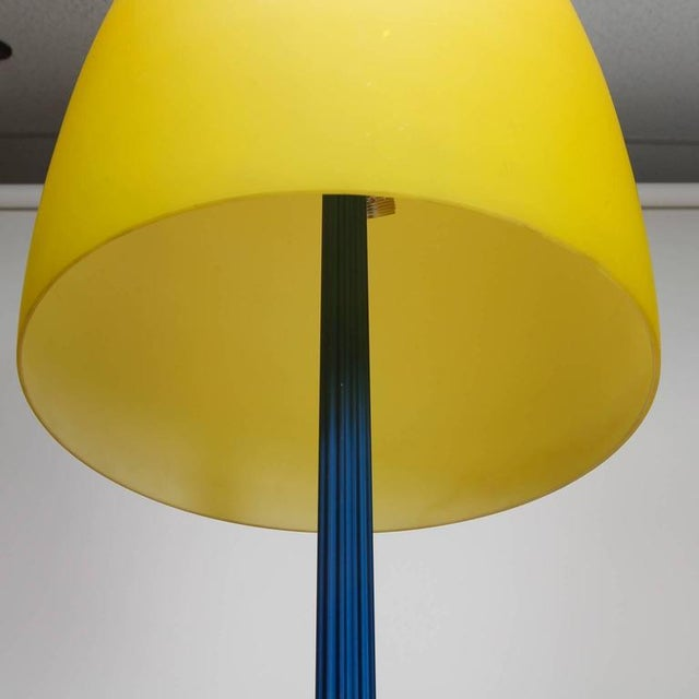 Blue and Yellow Memphis Floor Lamp with Glass Shade - Image 5 of 7
