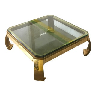 Karl Springer Asian Brass & Glass Cocktail Table