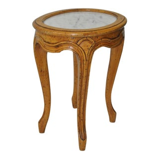 Petite French Carved Fruitwood Side Table w/ Marble Insert c.1940s