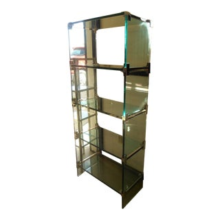 Vintage Leon Rosen for Pace Mid Century Glass & Chrome Shelving Unit