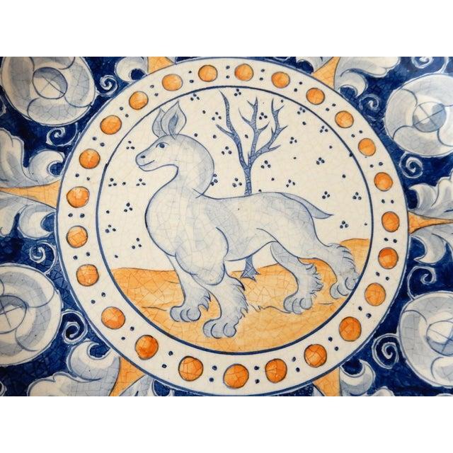 Vintage Italian Blue & Yellow Majolica Platter - Image 4 of 6