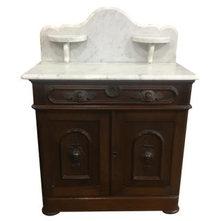 Antique Victorian Marble Top Bedroom Washstand