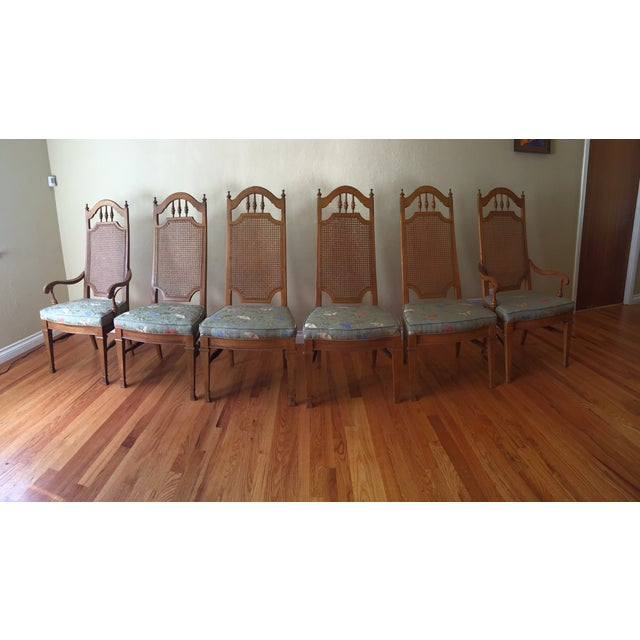 Spanish Revival Cane Back Dining Chairs - Set of 6 - Image 2 of 11