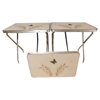 Mid-Century Butterfly/Wheat Design TV Tables - S/3