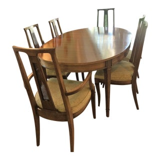 Transitional Mid Century Expandable Dining Table 6 Chairs