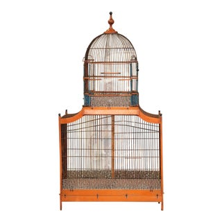 19th Century French Hand-Painted Carved & Wired Birdcage