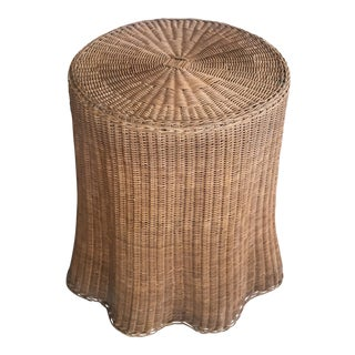 Mid Century Wicker Trompe L'oeil Draped Ghost Table
