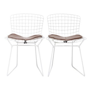 Knoll Bertoia Child Size Chairs White/Brown - Pair