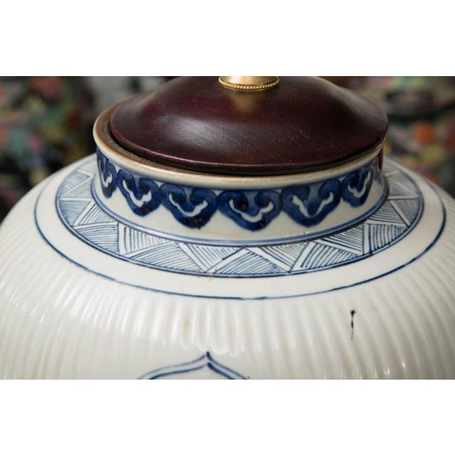 Pair of Chinese Blue and White Lamps - Image 7 of 7