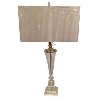 Large Transitional Crystal & Nickel Lamp