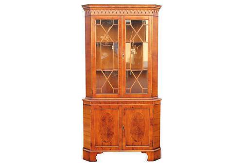 1950u0027s Mid Century Modern Corner Curio Cabinet