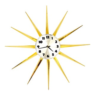 Mid-Century Space Age Gold Starburst Wall Clock by Bulova