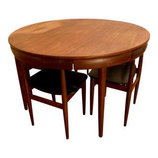 Hans Olsen for Frem Rojle 1960s Danish Modern Expandable Teak Table and Chairs - Dining Set