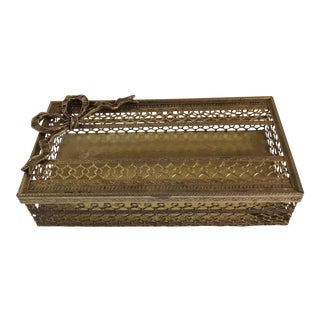 Mid-Century Brass Filigree Tissue Box