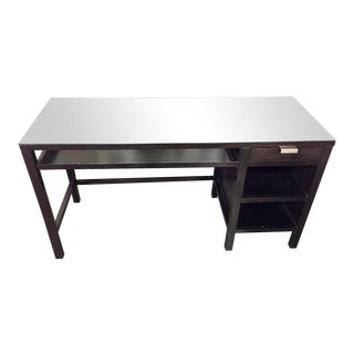 Glass Topped Black Office Table