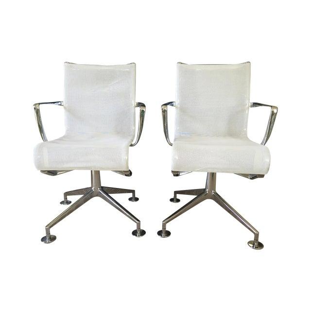 Alias White Mesh Chrome Swivel Armchairs - Pair - Image 1 of 5