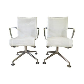 Alias White Mesh Chrome Swivel Armchairs - Pair