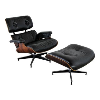 Vintage Eames Herman Miller Black Leather & Rosewood Lounge Chair & Ottoman
