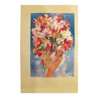 1940s Domergue Monte Carlo Flower Girl Poster