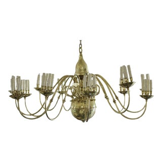 Spectacular Brass Candelabra Style 12-Arm and 48 Candles Dutch Style Chandelier