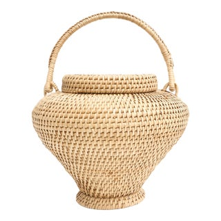 Large Vintage Hand-Woven Herb Basket with Handle