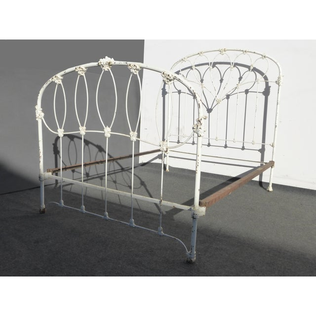Antique French Country Full Iron Bed Frame Farmhouse Chic Headboard - Image 3 of 11