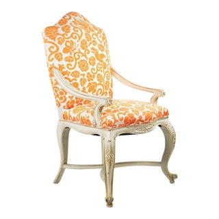 Orange Patterned Bergere Armchair