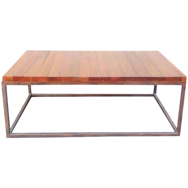 Minimalist wooden slat coffee table chairish for Minimalist coffee table