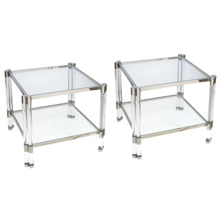 Smart Pair of French Nickel, Lucite & Glass Side Tables, Style of Pierre Vandel
