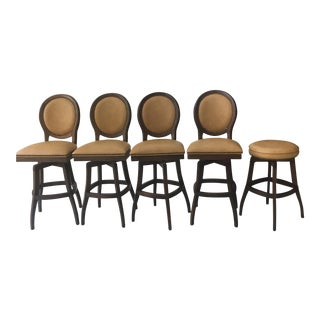 Vintage Hobnail Ostrich Leather Bar Stools & Stool - Set of 5