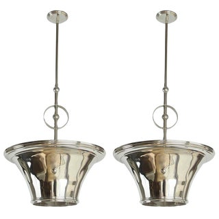 Mid-Century Deco Influenced Pair of Nickel Pendants