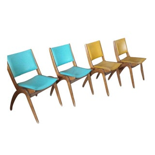 Mid-Century Chairs Aqua & Yellow - Set of 4