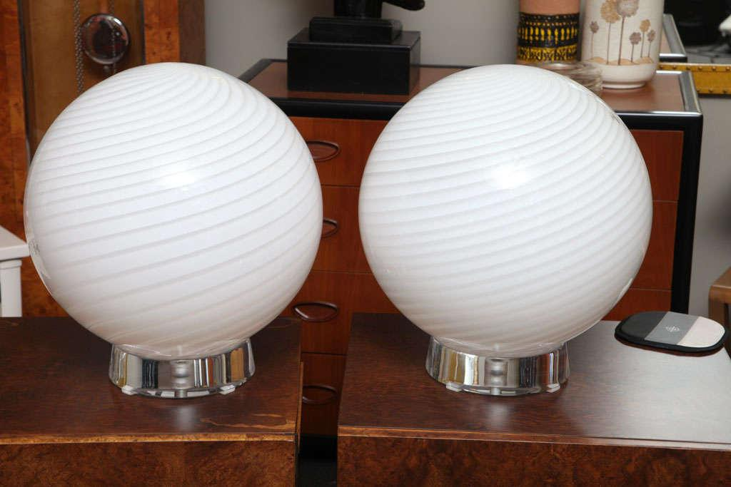 Extra Large Vetri Murano Glass U0026 Lucite Globe Table Lamps   Image 9 ...