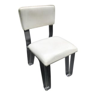 Lucite and White Vinyl Vanity Chair