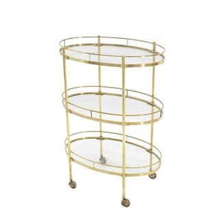 Three-Tier Brass Oval Tea Serving Cart