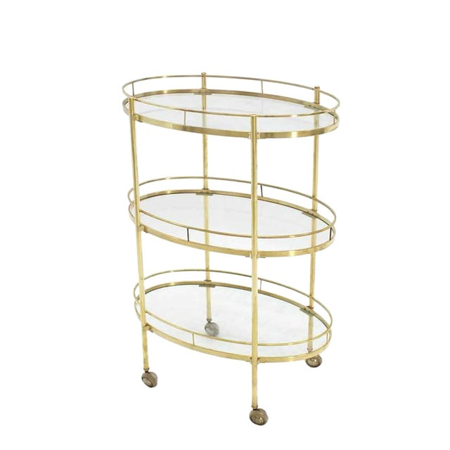 Three-Tier Brass Oval Tea Serving Cart - Image 1 of 8