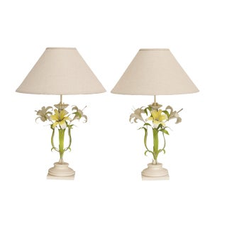 Italian Tole Painted Table Lamps, A Pair