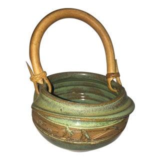 Small Signed Glazed Ceramic Basket & Handle