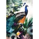 Image of Peacock Garden Original Watercolor Painting