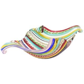 Italian Murano Galliano Ferro Fused Cane Multicolored Glass Bowl