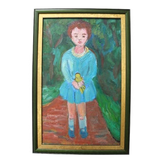 1950s Anna Costa French Oil Portrait of a Girl