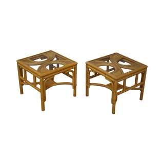 Rattan Bamboo Square Glass Top Low Tables - Pair