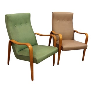 Thonet Mid-Century Danish Modern Bentwood Arm Lounge Chairs - a Pair