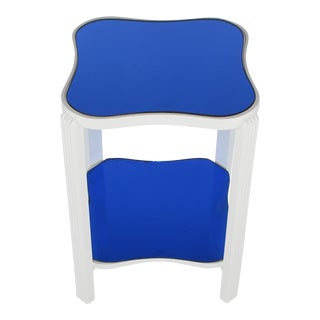Art Deco Two-Tier White Lacquer and Blue Mirror Side Table