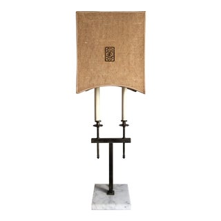 Mid-Century Hollywood Regency Brass Buoillotte Table Lamp