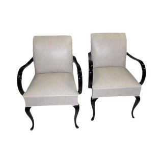 French Art Deco Macassar Ebony High Gloss Lacquered Armchairs - A Pair
