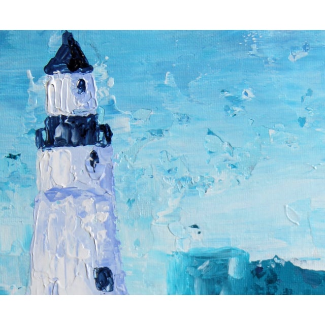 """""""Lighthouse #1"""" Blue Painting by Celeste Plowden - Image 2 of 2"""