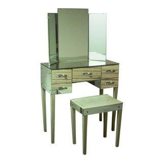 Hollywood Regency Mirrored Vanity with Bench